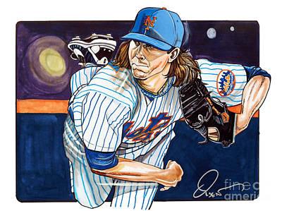 Baseball Art Drawing - Jacob Degrom Of The New York Mets by Dave Olsen