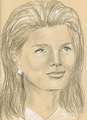 First-lady Drawing - Jacqueline Kennedy by P J Lewis