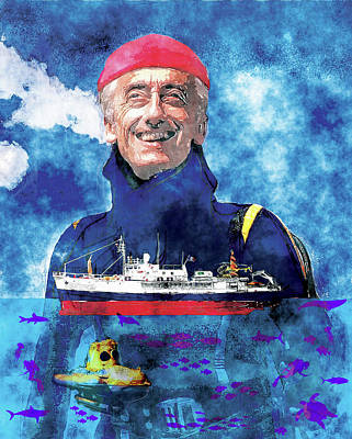 Calypso Mixed Media - Jacques Cousteau by Russell Pierce