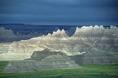 Crag Photograph - Jagged Badlands Formations, Spotlit On A Gloomy Day by Altrendo Nature
