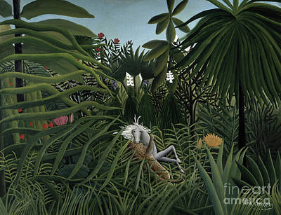 Biting Painting - Jaguar Attacking A Horse, 1910 by Henri Rousseau