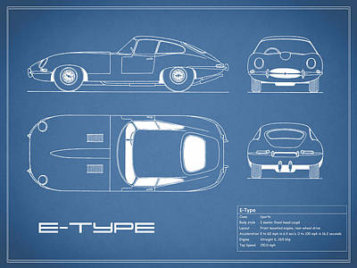 Jaguar E Type Blueprint Print by Mark Rogan