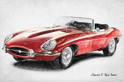Crayons Drawing - Jaguar E-type by Taylan Soyturk