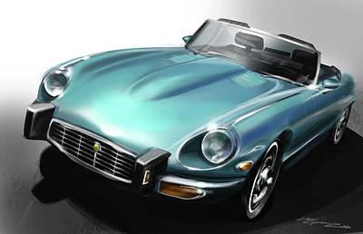 Automotive.digital Digital Art - Jaguar E-type by Uli Gonzalez