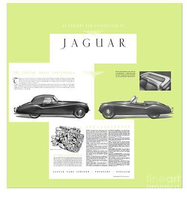 Jaguar Xk 120 Convertible Six Cylinder 160bph Engine Double Overhed Camshaft Classic Car Print by R Muirhead Art