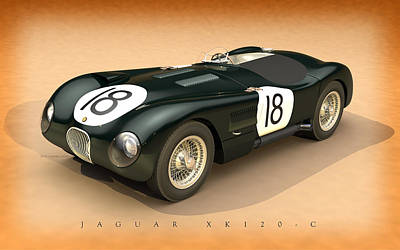 Sterling Digital Art - Jaguar Xk120-c Three-quarters by Pete Chadwell