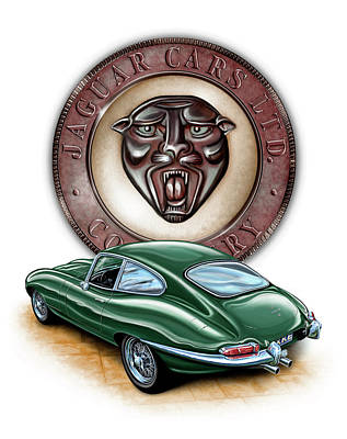 British Digital Art - Jaguar Xke British Racing Green by David Kyte