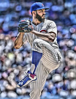 Chicago Cubs Painting - Jake Arrieta Chicago Cubs by Joe Hamilton
