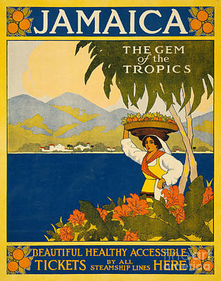 Mountain Drawing - Jamaica  Vintage Travel Poster by American School