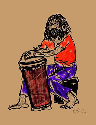 Jamaican Digital Art - Jamaican Drummer by Edward Farber