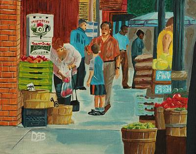 Fruit Stand Painting - Jame St Fish Market by David Bigelow