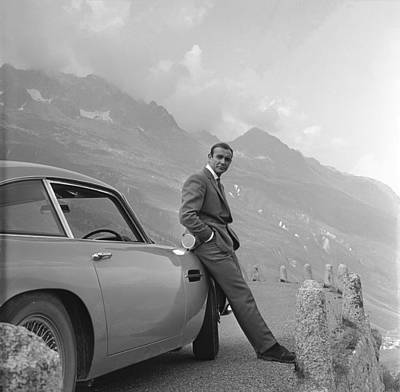 Black And White Digital Art - James Bond And His Aston Martin by Georgia Fowler