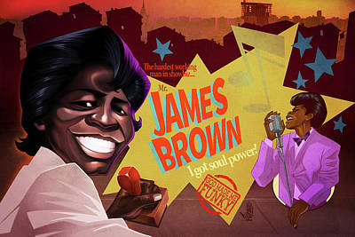James Brown Print by Nelson Dedos Garcia