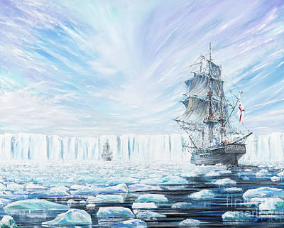 Ship. Galleon Painting - James Clark Ross Discovers Antarctic Ice Shelf by Vincent Alexander Booth