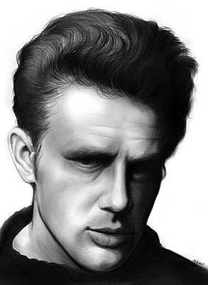 Actors Drawing - James Dean by Greg Joens