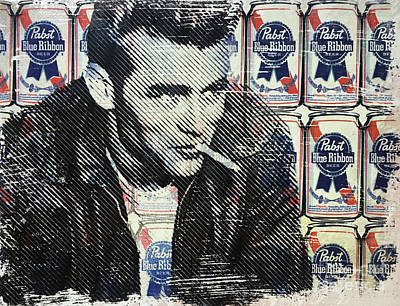 Marilyn Monroe And James Dean Mixed Media - James Dean Pbr by Surj LA