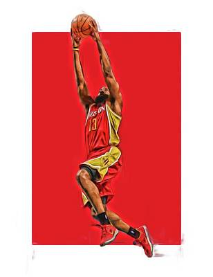 James Harden Houston Rockets Oil Art Print by Joe Hamilton