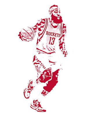 James Harden Houston Rockets Pixel Art Print by Joe Hamilton