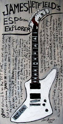 Esp Guitars Painting - James Hetfield's Esp Explorer by Karl Haglund
