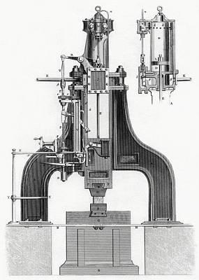 Hammer Drawing - James Nasmyth S Patent Steam Hammer by Vintage Design Pics