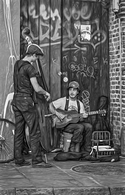 Jammin' In The French Quarter - Paint Bw Print by Steve Harrington