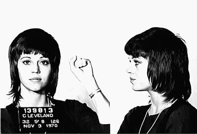 Jane Fonda Mugshot Print by Bill Cannon