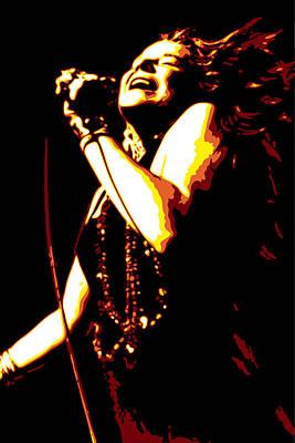 Singer Digital Art - Janis Joplin by DB Artist