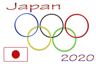 Japan Olympics 2020 Logo 3 Of 3 Print by Tina M Wenger