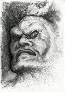 Drawing - Japanese Demon by Tim Thorpe
