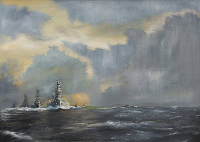 Boats In Water Painting - Japanese Fleet In Pacific by Vincent Alexander Booth