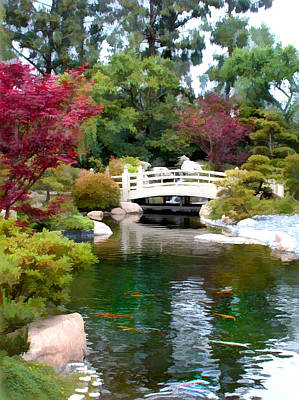 Koi Digital Art - Japanese Garden Bridge And Koi Pond by Elaine Plesser