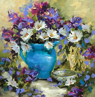 Of Cool Colors Painting - Japanese Iris And Daisies by Nancy Medina