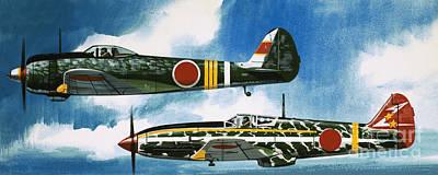 Japanese Nakajima Hayate And Kawasaki Toryu Fighters Print by Wilf Hardy