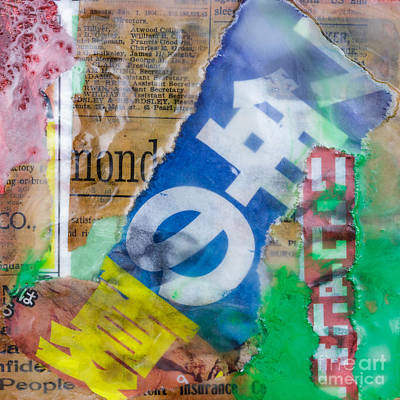 Japanese Newspaper Encaustic Mixed Media Print by Edward Fielding