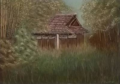 Bamboo House Painting - Rustic Japanese Tea House In Sydney by Junko Schettino