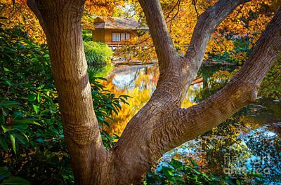 Fall Foliage Photograph - Japanese Tea House by Inge Johnsson