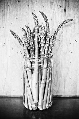 Fresh And Delicious Photograph - Asparagus - Black And White by Colleen Kammerer