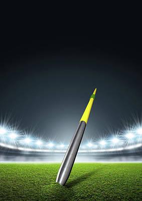Turf Digital Art - Javelin In Generic Floodlit Stadium by Allan Swart
