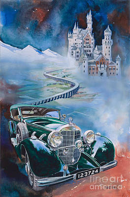 Nazi Painting - Jawohl Mercedes 500k by Mike Hill