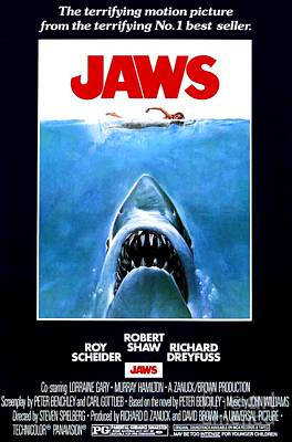 Movie Poster Photograph - Jaws Movie Poster - 1975 by The Titanic Project