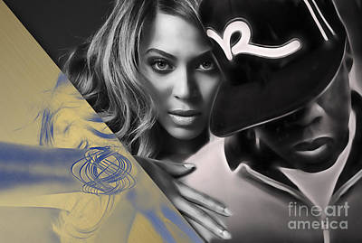 Jay Z Beyonce Collection Print by Marvin Blaine