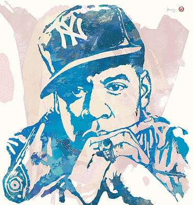 Jay Z Drawing - Jay-z  Etching Pop Art Poster by Kim Wang
