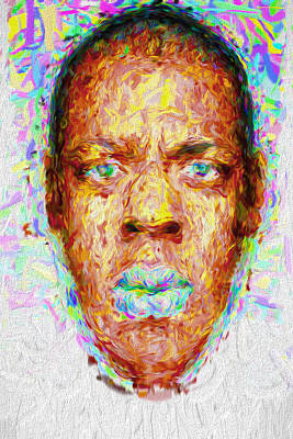 Jay Z Photograph - Jay Z Painted Digitally 2 by David Haskett