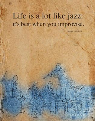 Jazz Band Drawing - Jazz 25 by Pablo Franchi