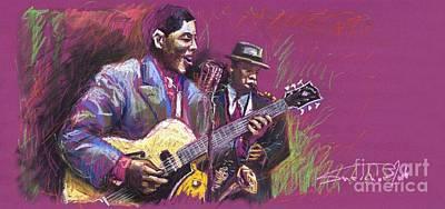 Figurativ Painting - Jazz Guitarist Duet by Yuriy  Shevchuk