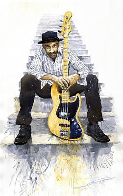 Marcus Painting - Jazz Marcus Miller 4 by Yuriy  Shevchuk