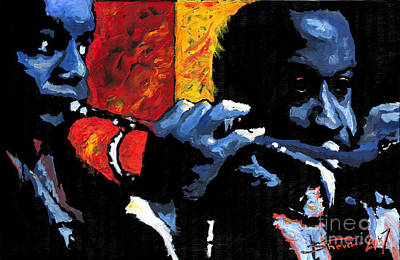 African-american Painting - Jazz Trumpeters by Yuriy  Shevchuk