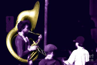 Jazz Band Digital Art - Jazz Tuba by John Rizzuto