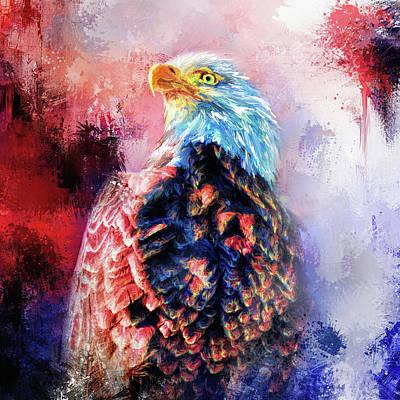 Jazzy Bald Eagle Colorful Bird Art By Jai Johnson Print by Jai Johnson