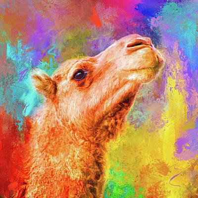 Camel Mixed Media - Jazzy Camel Colorful Animal Art By Jai Johnson by Jai Johnson